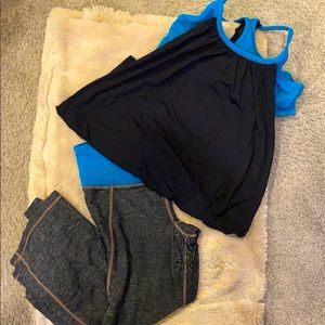 Capri leggings and matching top with attached bra